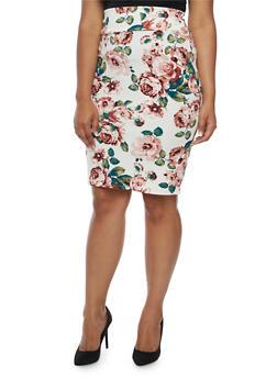 Plus Size Floral Pencil Skirt - 3929062415717