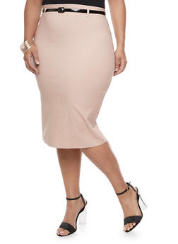 Plus Size Belted Pencil Skirt - 3929062709947