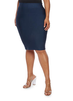Plus Size Bandage Solid Pencil Skirt - 3929068197072