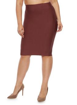 Plus Size Bandage Solid Pencil Skirt - 3929068197072