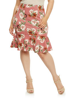 Plus Size Floral Skirt with Ruffled Hem - 3929068512485