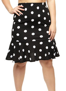 Plus Size Polka Dot Flounce Skirt - 3929068512486