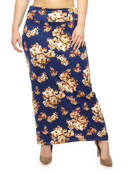 Plus Size Floral Fold Over Maxi Skirt - 3929068512514