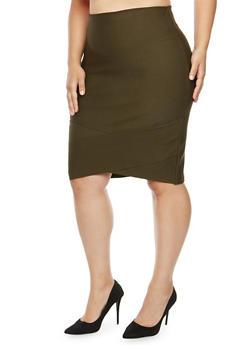 Plus Size Bandage Pencil Skirt - OLIVE - 3929069390078