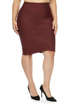 Plus Size Bandage Pencil Skirt - 3929069390078