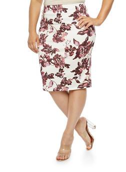Plus Size Floral Midi Pencil Skirt - 3929069390175