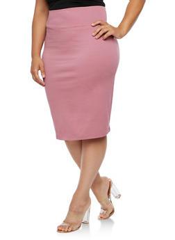 Plus Size Wide Waist Pencil Skirt - 3929069391087