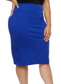 Plus Size Wide Waist Pencil Skirt - 3929069391087