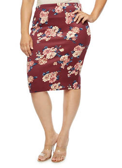 Plus Size Floral Midi Pencil Skirt - 3929069392740
