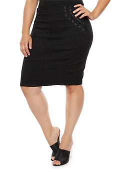 Plus Size Lace Up Stretch Pencil Skirt - 3929072292591