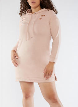 Plus Size Laser Cut Sweatshirt Dress - 3930015997105