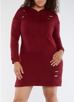 Plus Size Laser Cut Sweatshirt Dress - 3930015997105