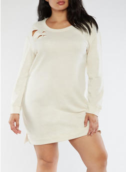 Plus Size Ripped Sweater Dress - 3930015997110