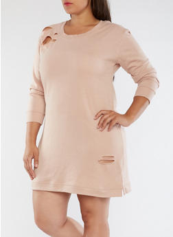 Plus Size Ripped Sweater Dress - ROSE DUST - 3930015997110