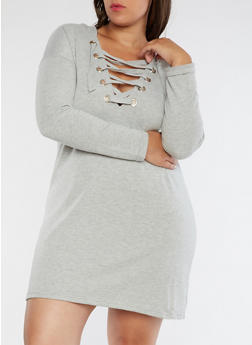 Plus Size Lace Up Sweater Dress - 3930015997111