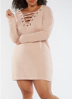 Plus Size Lace Up Sweater Dress - ROSE DUST - 3930015997111