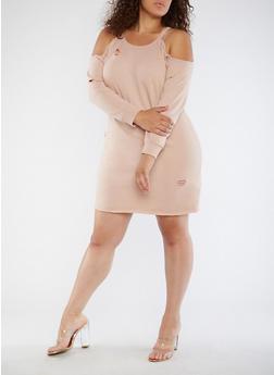 Plus Size Destroyed Cold Shoulder Dress - ROSE DUST - 3930015997112