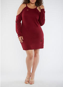 Plus Size Destroyed Cold Shoulder Dress - 3930015997112