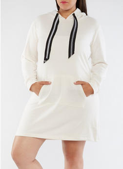 Plus Size Hooded Sweater Dress - 3930015997113