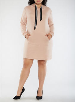 Plus Size Hooded Sweater Dress - 3930015997113