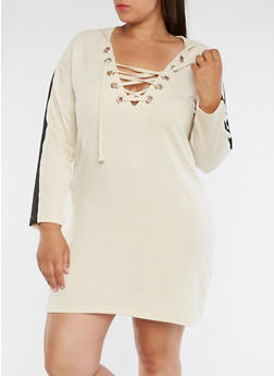 Plus Size Lace Up Sweater Dress - 3930015997114