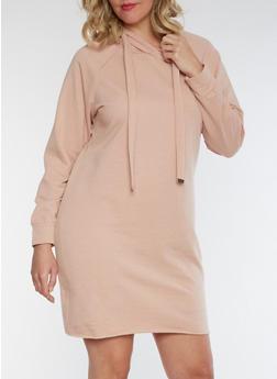Plus Size Hooded Sweatshirt Dress - 3930015997115