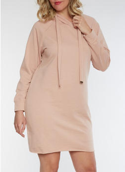 Plus Size Hooded Sweater Dress - ROSE DUST - 3930015997115
