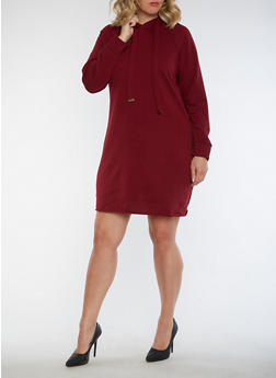 Plus Size Hooded Sweatshirt Dress - 3930015997115