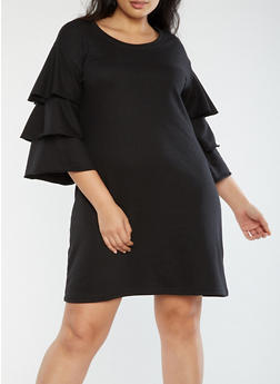 Plus Size Tiered Sleeve Sweater Dress - 3930015997140