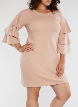 Plus Size Tiered Sleeve Sweatshirt Dress - 3930015997140