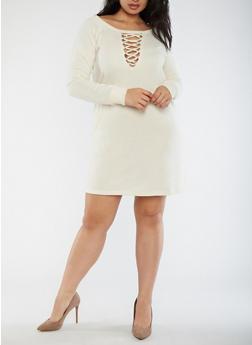 Plus Size Lace Up Sweatshirt Dress - 3930015998108