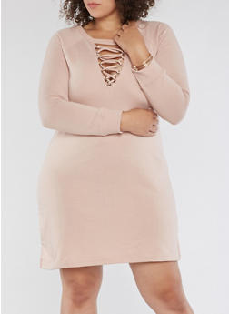 Plus Size Lace Up Sweatshirt Dress - 3930015998108