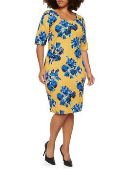 Plus Size Midi Dress in Floral Print - 3930020620946