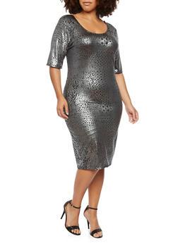 Plus Size Dress in Metallic Leopard Print - 3930020625341