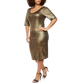 Plus Size Dress in Metallic Leopard Print - 3930020625341