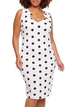 Plus Size Polka Dot Dress with Metallic Hardware Bust Accent - 3930020625850