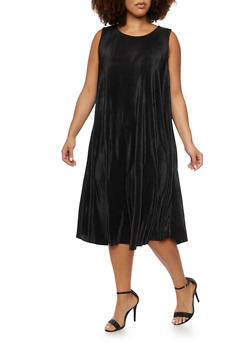 Plus Size Pleated Knit Swing Dress - BLACK - 3930020626526