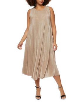 Plus Size Swing Dress in Pleated Knit - 3930020626526