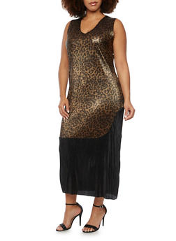 Plus Size Color Block Dress with Metallic Finish - BLK/BROWN - 3930020626527