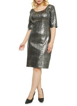 Plus Size Abstract Metallic Foil Dress - 3930020626532