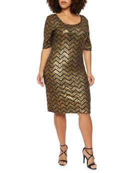 Plus Size Dress in Metallic Chevron Print - 3930020626534