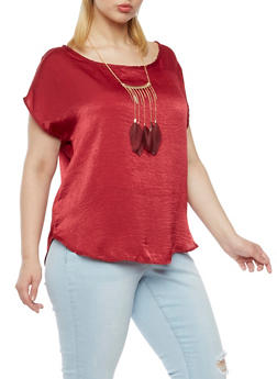 Plus Size Crinkle Knit Top with Feather Necklace - WINE - 3930020628560