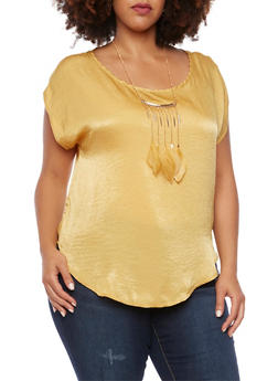 Plus Size Crinkle Knit Top with Feather Necklace - MUSTARD - 3930020628560