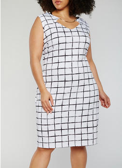 Plus Size Sleeveless Printed Dress with Metal Collar - 3930020629898
