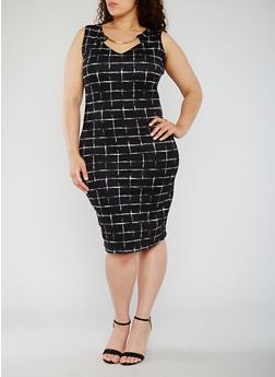 Plus Size Sleeveless Printed Dress with Metal Collar - BLACK/WHITE - 3930020629898
