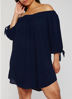 Plus Size Off the Shoulder Dress with Tie Sleeves - 3930035041600