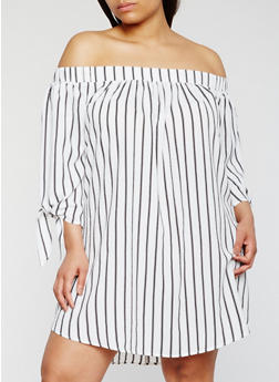 Plus Size Striped Off the Shoulder Dress with Tie Sleeves - 3930035047160