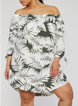 Plus Size Off the Shoulder Leaf Print Dress - 3930035047161