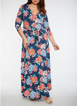 Plus Size Floral Faux Wrap Maxi Dress - 3930054263483