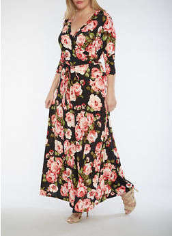 Plus Size Floral Faux Wrap Maxi Dress - 3930054263489